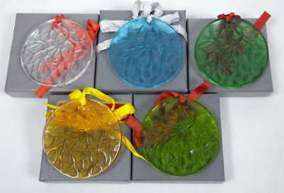 Lot 5 Lalique Ornaments Noel 1988,89,90,91,92 Clear Blue Green Amber w/ Boxes
