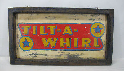 OLD 1930's Tilt-A-Whirl Painted Tin Amusement Park Carnival Midway Ride Sign yqz