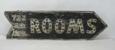 Antique Early 1900's Rooms Double Sided Trade Sign w/Cat's Eye Reflectors NR yqz