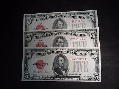 (3) Consecutive 1928-B Five Dollar $5 US Notes- All AU/UNC