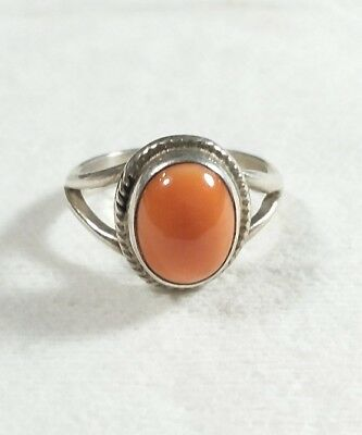 Navajo 925 Sterling Silver Braided Design Spiny Oyster Size 5.5 Ring