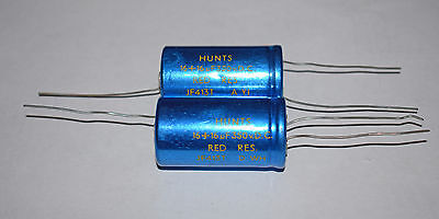 2 PIECES HUNTS DUAL ELECTROLYTIC CAPACITOR 16uF + 16uF 350v AXIAL