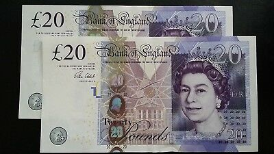 GREAT BRITAIN £20 Pound Cleland UK Bank of England x 2 UNC Banknotes
