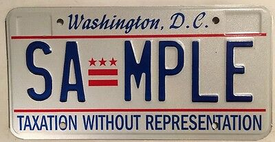 District Columbia Taxation license plate sample D.C. USA Graphic Washington DC