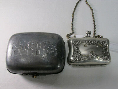 Antique Mixed Lot Reed&Barton Silver Plate Soap Case & Miniature Coin Purse yqz