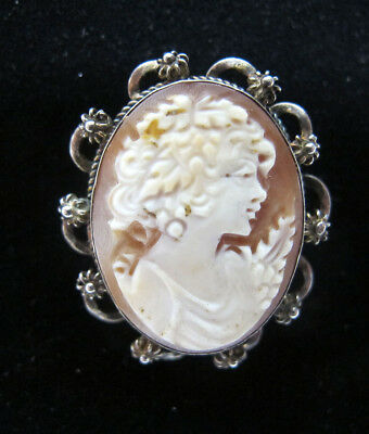 Estate Antique 19th c Victorian 800 Silver Carved Shell Cameo Brooch Pendant yqz