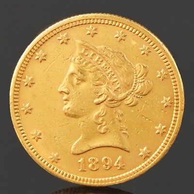 1894 US $10 Dollar Liberty Head & Eagle Solid Fine Gold Coin, No Reserve!