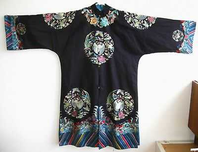 Fine Old Antique Chinese Dark Blue Embroidered Imperial Silk Tunic Robe