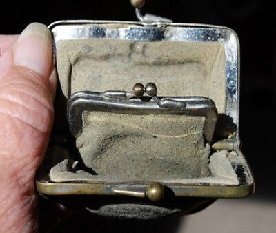 Tiny Vintage/Antique Coin Purse-Purse Within A Purse-2 Tiny Pouches-2 Kiss Locks