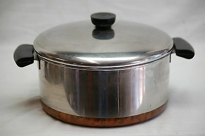 1801 Revere Ware SS Dutch Oven Pot w Lid Copper Clad Bottom Kitchen Tool USA