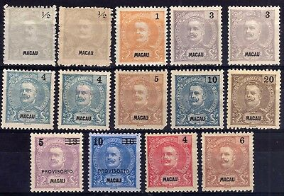 Macau 1898-1903 Unused Selection, Faults, 14 Stamps