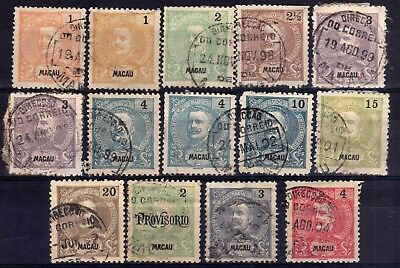 Macau 1898-1903 Used Selection, Faults, 14 Stamps