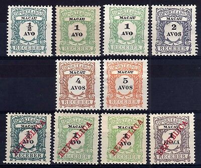 Macau 1904-14 Postage Dues Unused Selection, Faults, 10 Stamps