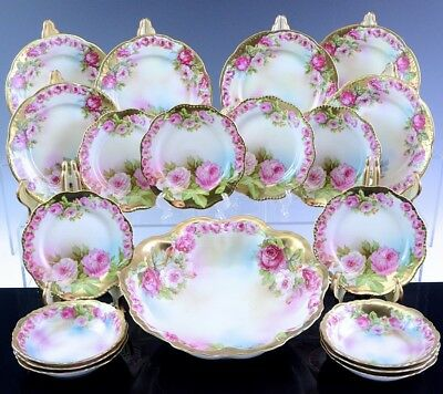 BEAUTIFUL 19pc ANTIQUE ROYAL VIENNA RED WHITE ROSES BERRY BOWL DESSERT PLATE SET