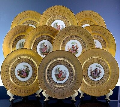 SUMPTUOUS SET OF 10 ROYAL CHINA 22k GOLD OVERLAY PORCELAIN SCENIC DINNER PLATES