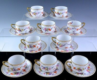 Beautiful Set 10 Beyer & Bock Dresden German Porcelain Coffee Cups Cans Saucers
