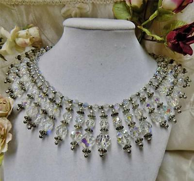 Spectacular Vintage Art Deco Faceted Crystal Bead Dangle Bib Necklace Exquisite