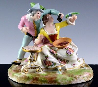 VERY FINE c1900 ANTIQUE FRENCH PARIS PORCELAIN COUPLE w BIRD GROUPING FIGURE