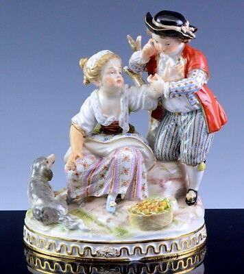 SUPERB LARGER VICTORIAN MEISSEN GERMAN PORCELAIN COUPLE w DOG GROUP FIGURE
