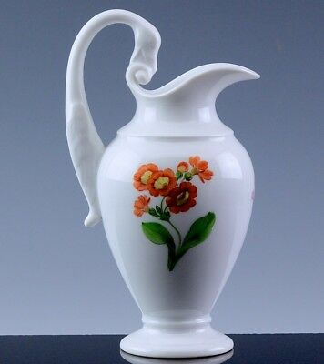 Very Pretty 1St Quality Meissen Swan Handled Hand Painted Cream Pitcher Jug Vase