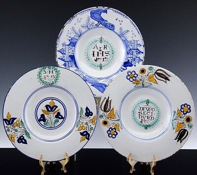 Estate Lot Of 3 Early 1900's English / Dutch Delft Figural Scenic Charger Plates