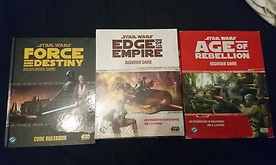 Star Wars RPG from Fantasy Flight. Core rule book and beginner's games