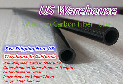 14mm OD X 12mm ID X 1000MM Carbon Fiber Tube 3K/Tubing Suit for RC Plane 14*12-H