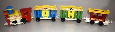 4 Vintage Fisher Price Circus Train Cars #991 ~ Excellent!