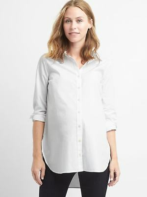 Gap Maternity Tailored Poplin Tunic Shirt in White ~ NWT ~ Size Small S
