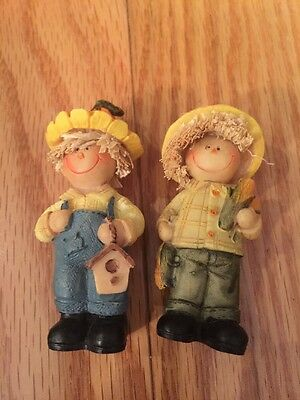 Miniature Dollhouse SCARECROW Figurines Thanksgiving Fall Resin 2.75""