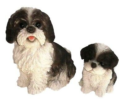 Shih Tzu Adult And Puppy New Dog Statues Realistic Life Like Home Garden Decor