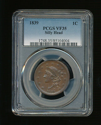 1839-P Silly Head Coronet Head Large Cent 1C PCGS VF 35