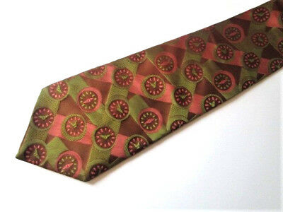 Novelty Print Mens Necktie Tie Vtg 1970s Wide Polyester Watch Band Clock Face
