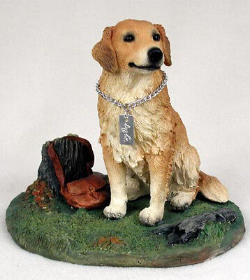 GOLDEN RETRIEVER w/ stump  MY DOG Figurine Statue Pet Lovers Gift Resin
