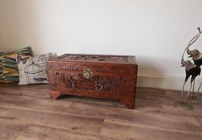 Large Antique Carved Camphor Wooden Chest Storage Blanket Box, 78.5cm Width