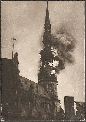 Historic St. Peters Church On Fire Riga Vintage Postcards 5 Different Cards