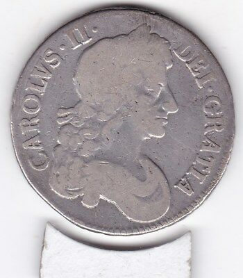1679   King    Charles   II  Large   Crown  (5/-) -  Silver  (92.5%)  Coin