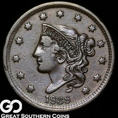 1838 Large Cent, Coronet Head, Choice XF++ Early Date