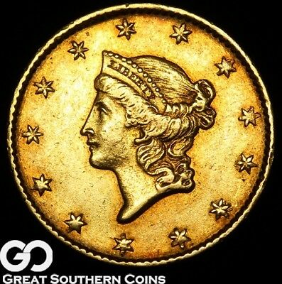 1849 Gold Dollar, $1 Gold Liberty, Type 1, Open Wreath, No L Variety ** Free S/H