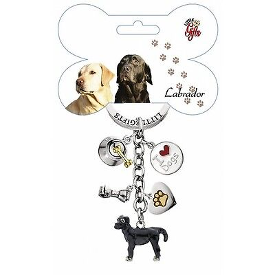 Black Lab Little Gifts DOG Hand Painted Enamel Key Chain Ring with 5 Charms