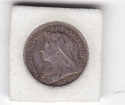 1901   Queen  Victoria  Threepence  (3d)  Solid Silver (92.5%) Coin