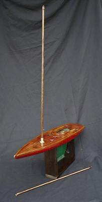 "Vintage antique pond boat 42 1/2"" H x 30"" L x 8 1/2"" W no sail with stand"