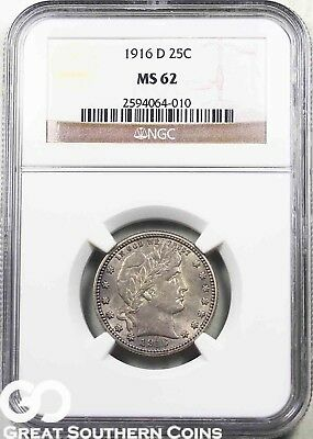 1916-D NGC Barber Quarter NGC MS 62 ** Nice Toning and Luster, Last Year Minted!