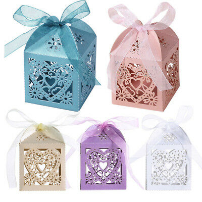10Pcs Love Heart Party Wedding Hollow Box Baby Shower Favors Gift Candy Boxes