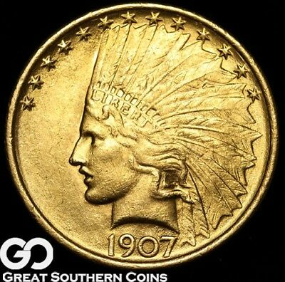 1907 Eagle, $10 Gold Indian, Nice Collector Gold Type ** Free Shipping!