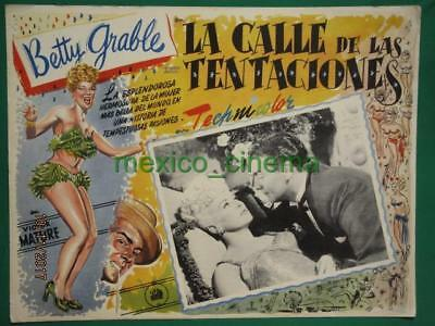 Betty Grable Wabash Avenue Leggy Showgirl Victor Mature Mexican Lobby Card 2
