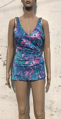 Vintage Ladies Swimsuit Floral Rockabilly Romper Style PinUp Bullet Bra Size 18