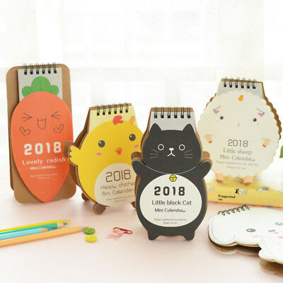 2018 Cute Cartoon Animal Desk Desktop Calendar Flip Stand Table Office Planner