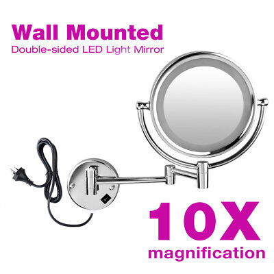 LED Wall Mounted Makeup Mirror Double Side 8.5inch10x Magnifying Mirror Bathroom