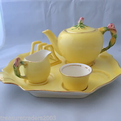 🌟 6pieces LEMON YELLOW WITH PINK ROSE BUD BREAKFAST SET ROYAL WINTON GRIMWADES